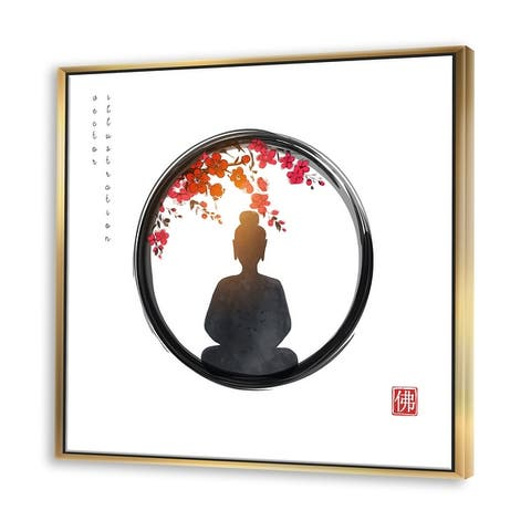 Designart 'BuddHa In Zen Circle With Red Flowers' Farmhouse Framed Canvas Wall Art Print
