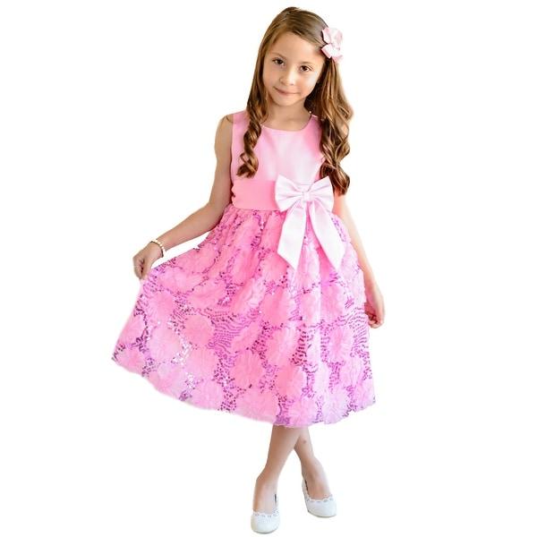 54f8ae24684 Shop Unik Girls Fuchsia 3D Floral Sash Bow Easter Junior Bridesmaid ...
