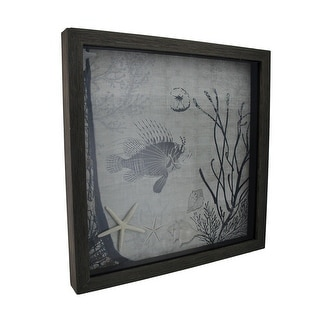 Under the Water Lionfish and Starfish Decorative Framed Wall Hanging - White