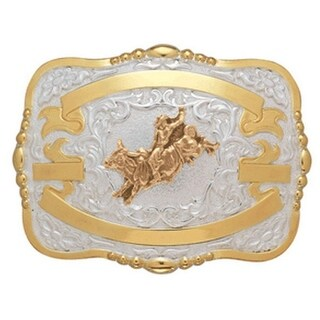 Crumrine Western Belt Buckle Boys Kids Bull Rider Gold White