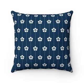 Japanese Floral Pattern Reversible Throw Pillow Cover, White & Blue
