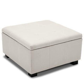 BELLEZE Storage Ottoman Foot Bench Tufted Vintage Style Living Room Bedroom (White)