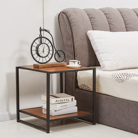 VECELO Nightstand/End Table Modern Studio Collection Deluxe Brown
