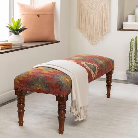 "Anupama Southwestern Upholstered Jute Bench - 18""H x 48""W x 16""D"