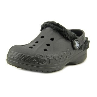 Crocs Baya Lined Youth Round Toe Synthetic Black Clogs