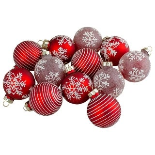 Link to Set of 12 Red Glass Christmas Ornaments 1.75-Inch (45mm) Similar Items in Christmas Decorations