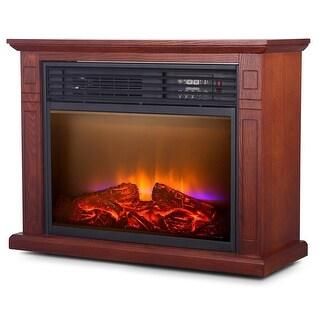 Della 1500W Infrared Quartz Deluxe Fireplace Heater Flame Mantel w/ Caster w/ Remote, Walnut