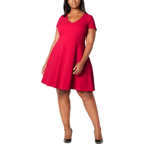 B. Darlin Womens Plus Skater Dress Bow-Back Coctail - Red