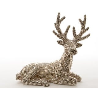 "12.5"" Luxury Lodge Gold Diamond Studded Inspired Laying Deer Christmas Figure"