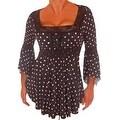 Funfash Plus Size Gothic Black White Lace Polka Dots Corset Top Blouse Shirt - Thumbnail 0