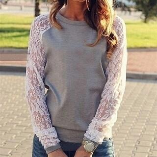 Lace Blouses Shirts women Long Sleeve
