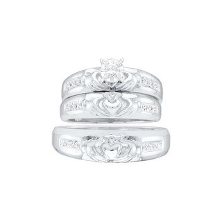 10k White Gold Diamond Matching Claddagh Mens Womens His Hers Trio Wedding Ring Set 1/7 Cttw