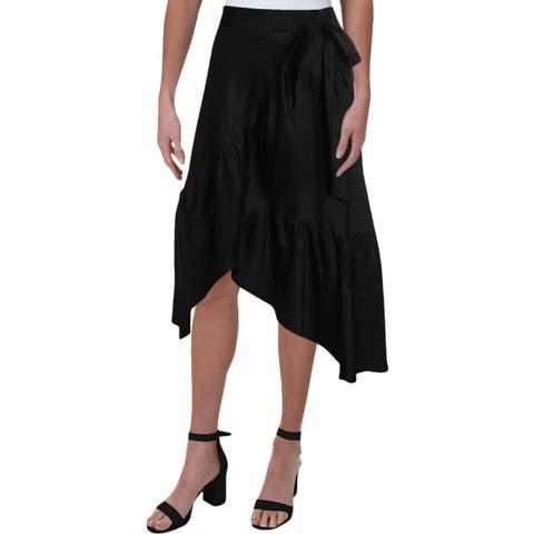 Lauren Ralph Lauren Womens Wrap Skirt Cotton Ruffled