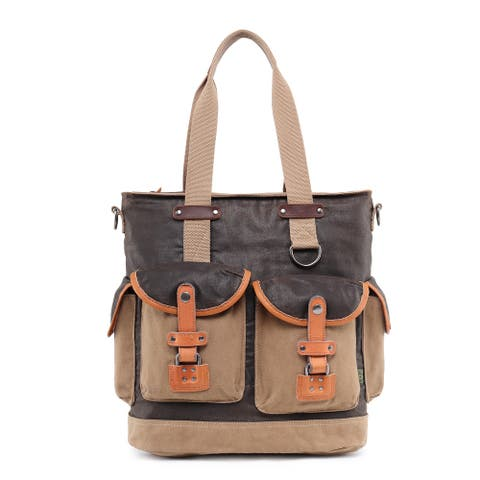 TSD Brand Tapa Two-Tone Canvas Tote