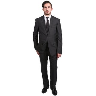 Versace Men's Solid Two-Piece Wool and Linen Suit Ash Grey