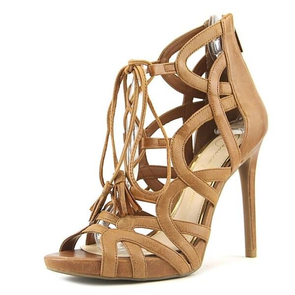 Jessica Simpson Racine Women Open Toe Leather Tan Sandals