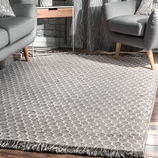 Link to nuLOOM Grey Contemporary Handmade Flatweave Honeycomb Wool/ Cotton Tassel Area Rug Similar Items in Transitional Rugs