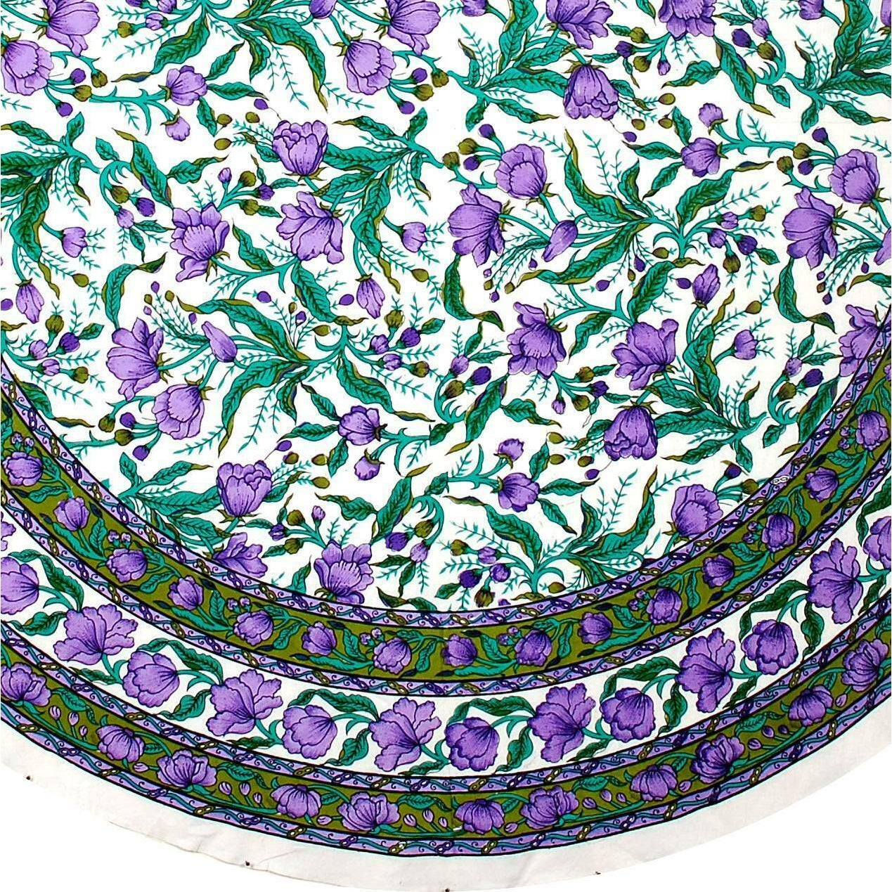 Beautiful Handmade Cotton French Floral Print Tablecloth 60 inches & 72 Inch & 90 Inch Round