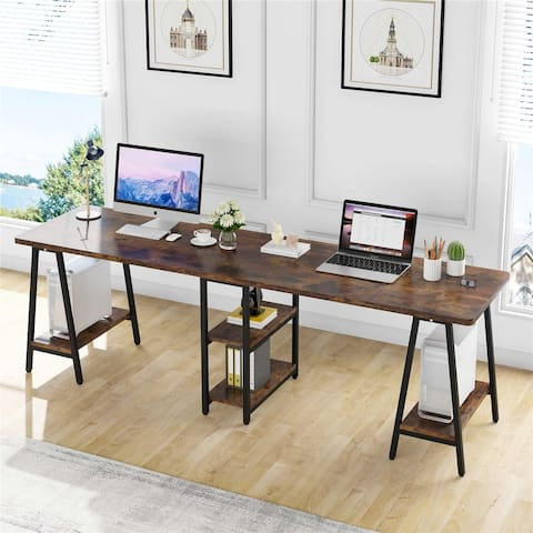 Computer Desk, Extra Long Two Person Desk with Shelves