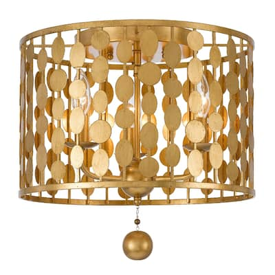 Layla 3 Light Antique Gold Ceiling Mount - 15'' W x 13.78'' H
