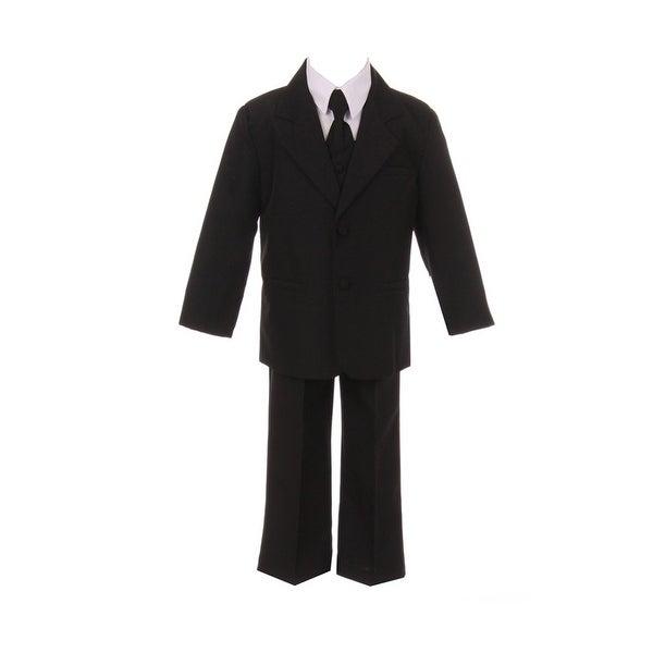 Baby Boys Black Jacket Pants Shirt Vest 5 pcs Special Occasion Suit 12M