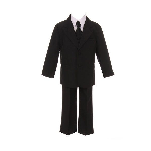 Baby Boys Black Jacket Pants Shirt Vest 5 pcs Special Occasion Suit 24M