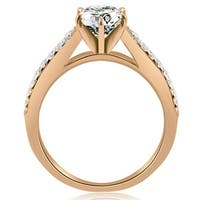0.80 cttw. 14K Rose Gold Cathedral Split Shank Round Diamond Engagement Ring
