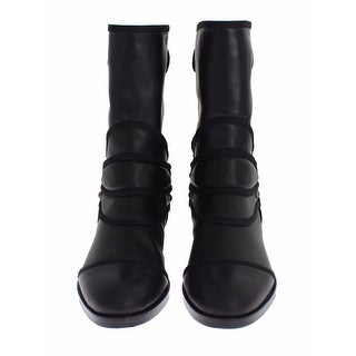 Dolce & Gabbana Black Leather Mid-Calf Flat Boots Shoes - 41