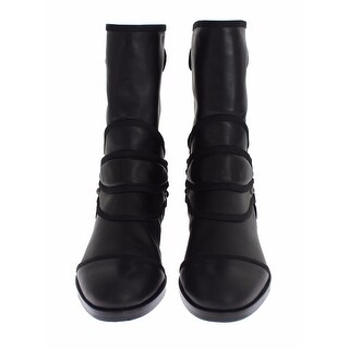 Dolce & Gabbana Black Leather Mid-Calf Flat Boots Shoes - 40