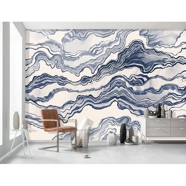 Shop Blue White Stripe Nordic Abstract Waves TEXTILE