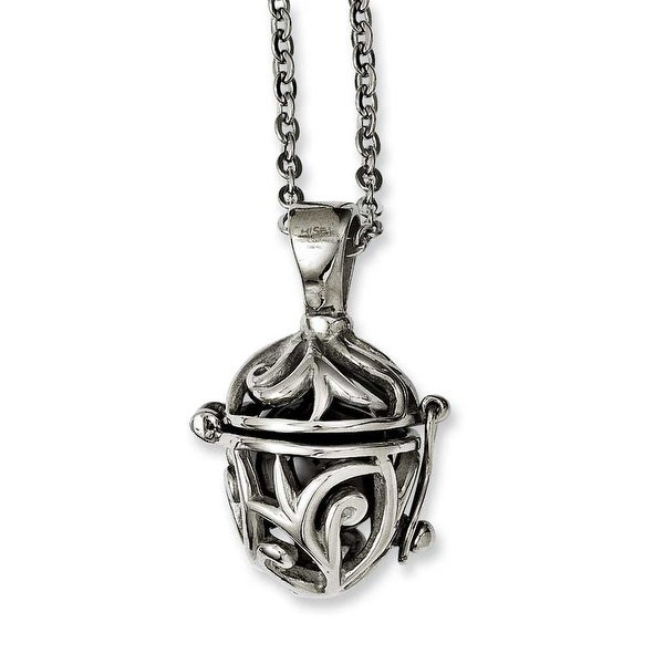 Chisel Stainless Steel Black Agate Fancy Pendant Necklace (2.3 mm) - 20 in