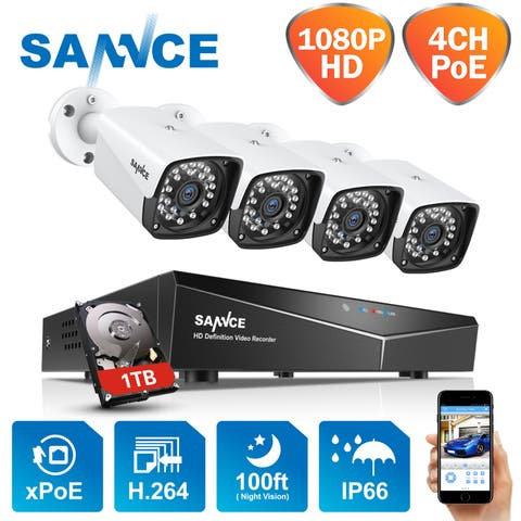 SANNCE HD 2MP 4 CHl POE NVR Outdoor Surveillance System Night Vision