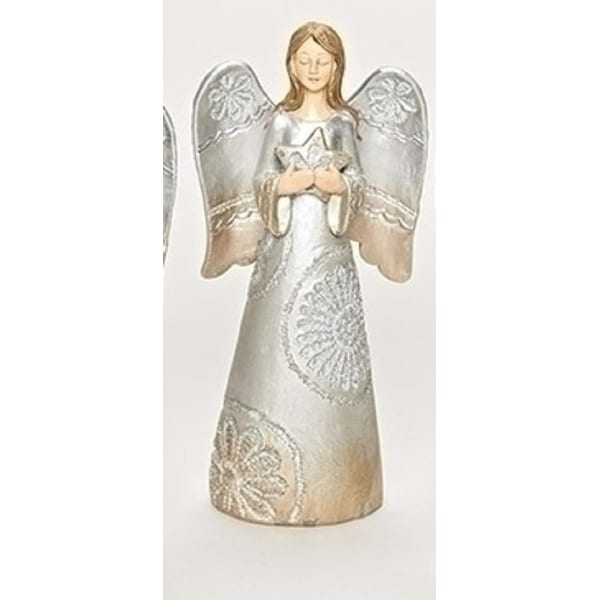 """7.5"""" Distressed Carved Lace Angel Holding a Star Decorative Christmas Table Top Figure"""