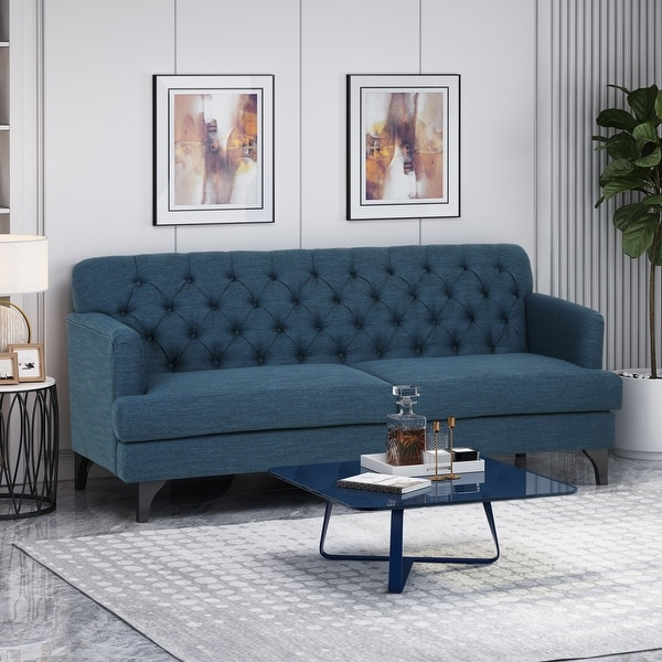"""Postwick Tufted Fabric 3 Seater Sofa by Christopher Knight Home - 78.00"""" W x 35.00"""" L x 34.50"""" H. Opens flyout."""