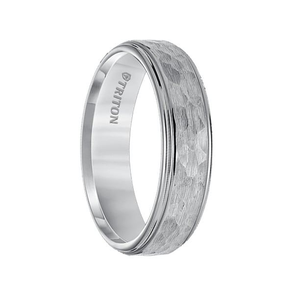 BARZILAI Raised Hammer Finished Center Tungsten Carbide Wedding Band with Polish Finished Step Edges by Triton Rings - 6mm