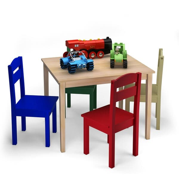 Shop Costway Kids 5 Piece Table Chair Set Pine Wood