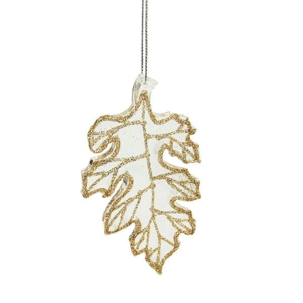 "4"" Rich Elegance Clear Champagne Glittered Oak Leaf Christmas Ornament"