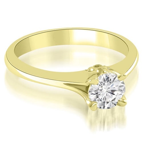 0.52 cttw. 14K Yellow Gold Split Shank Round Solitaire Diamond Engagement Ring