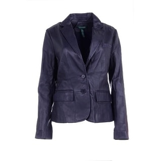Lauren Ralph Lauren Womens Selina Leather Long Sleeves Two-Button Blazer - 12