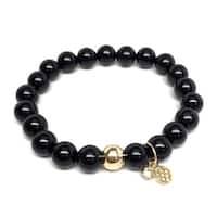 Black Onyx 'Zoe' Stretch Bracelet 14k over Sterling Silver