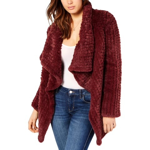 Guess Womens Faux Fur Jacket Faux Fur Drapey - Garnet Wine - XL
