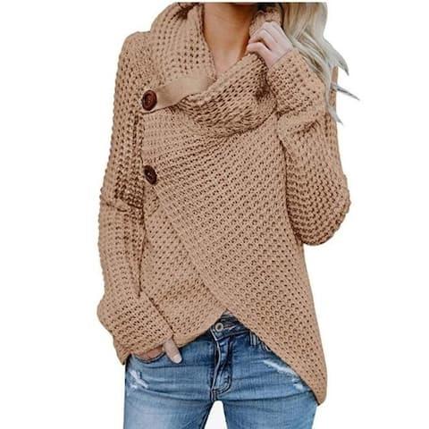 Women's Sweater Chunky Turtle Cowl Neck Asymmetric Hem Wrap Sweater Coat With Button