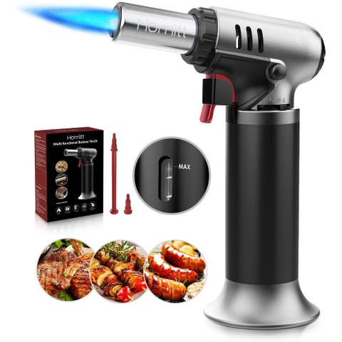 Homitt Refillable Cooking Torches with One-handed Operation & Safety LockChef's Tools Black Creme Brulee Torch