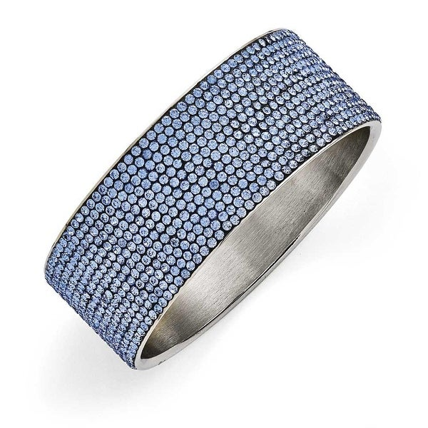 Chisel Stainless Steel Polished Blue Enamel with Crystals Wide Flat Bangle