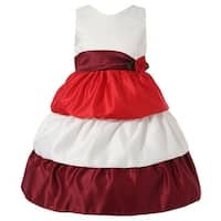 Richie House Girls Red White Rose Belt Layered Dress 7-9