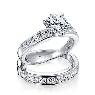 Bling Jewelry Silver Vintage Style CZ Engagement Wedding Ring Set 1.5ct