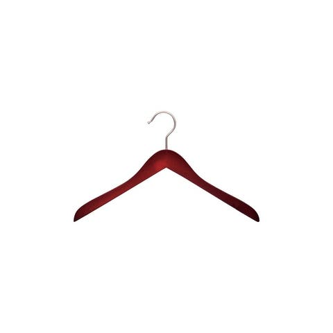 "Concave Cherry Finish Wooden Coat Hanger17"" Length x 5/8"" Thick, Satin Chrome Hook Box of 12"