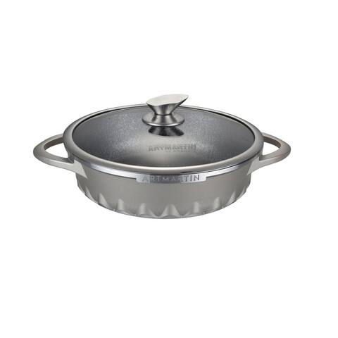 Non-Stick Ceramic Coated Die-Cast Aluminum Round Low Casserole Pot & Lid with Induction Bottom ,11 inch