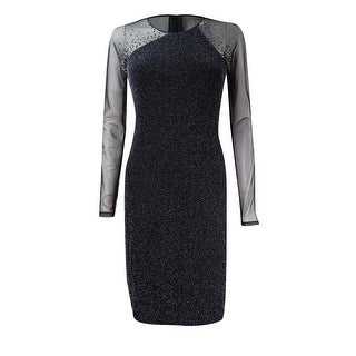 Calvin Klein Women's Metallic Illusion Studded Sheath Dress - Black