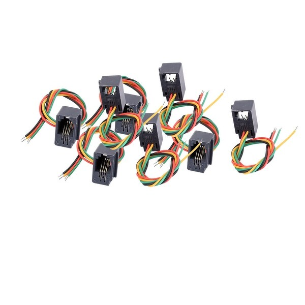 Unique Bargains 4P4C 616E 4 Colorful Wires Wired Modular Female Telephone Cable Connector 8 Pcs